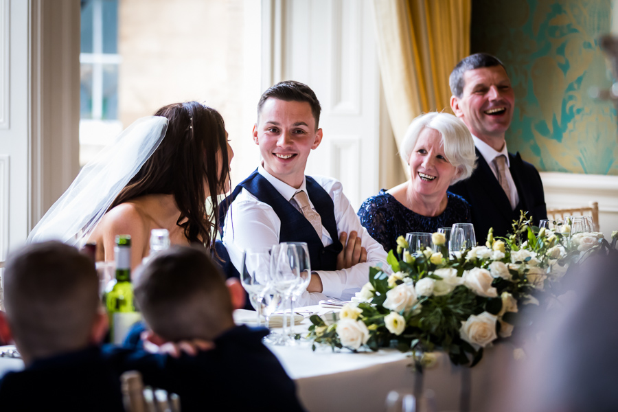 yorkshire wedding photographer - groom at the top table