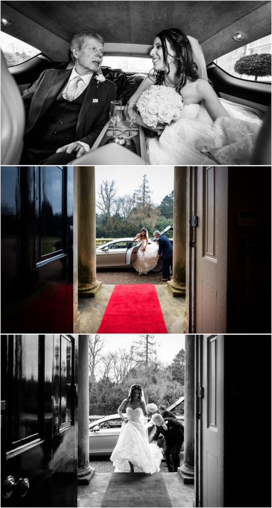 bride arriving at Bowcliffe Hall