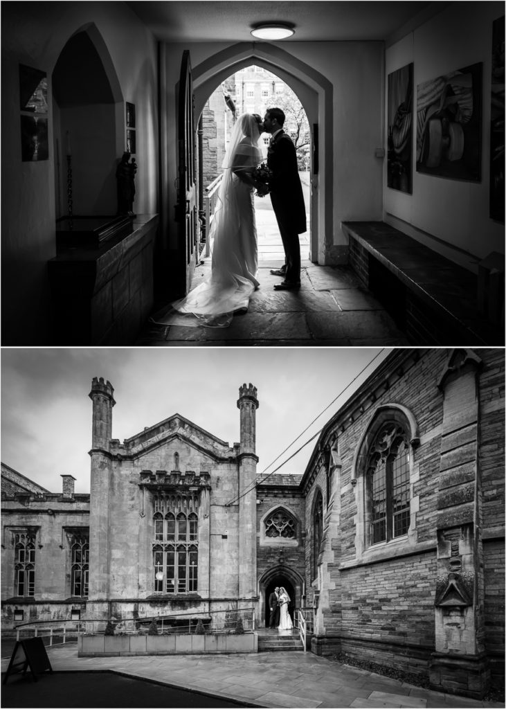 yorkshire wedding photographer - couple in the church archway