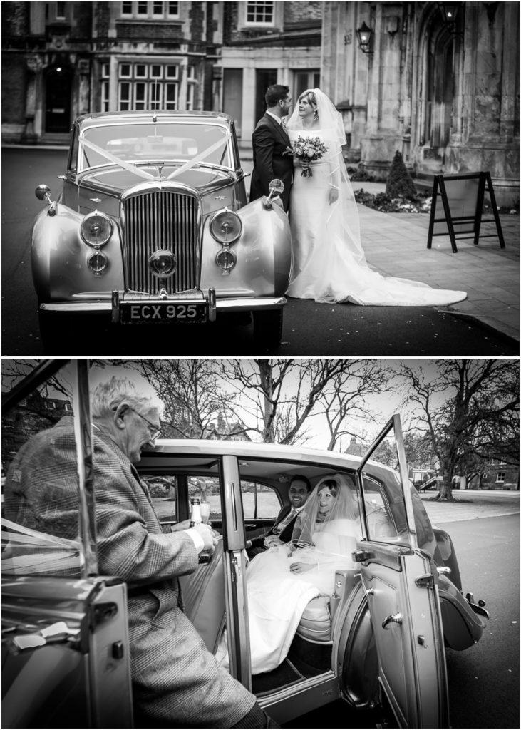 yorkshire wedding photographer - couple portrait inside the wedding car