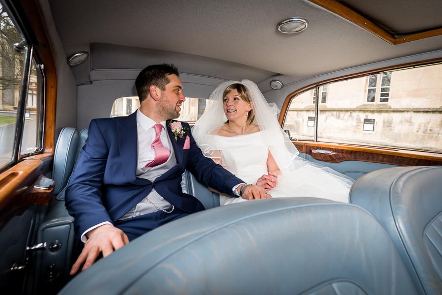 yorkshire wedding photographer - couple in the wedding car