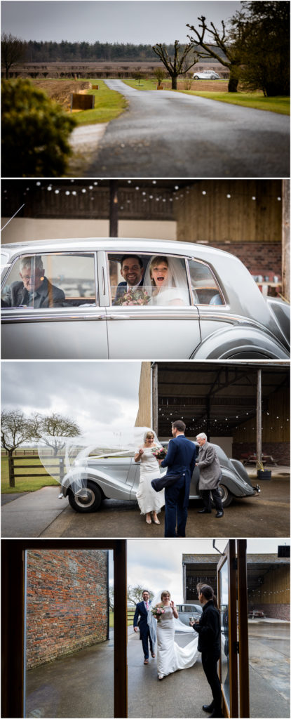 yorkshire wedding photographer - couple arriving at the venue