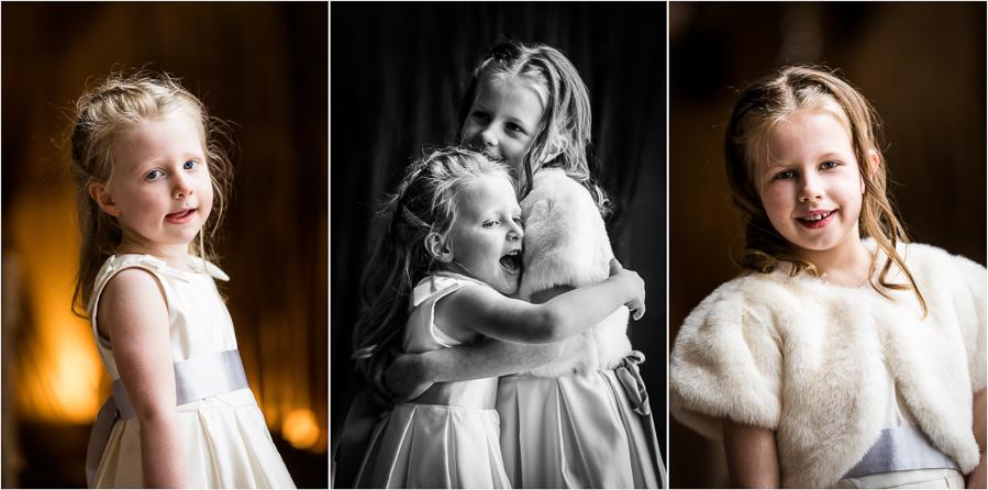 yorkshire wedding photographer - flower girls hugging