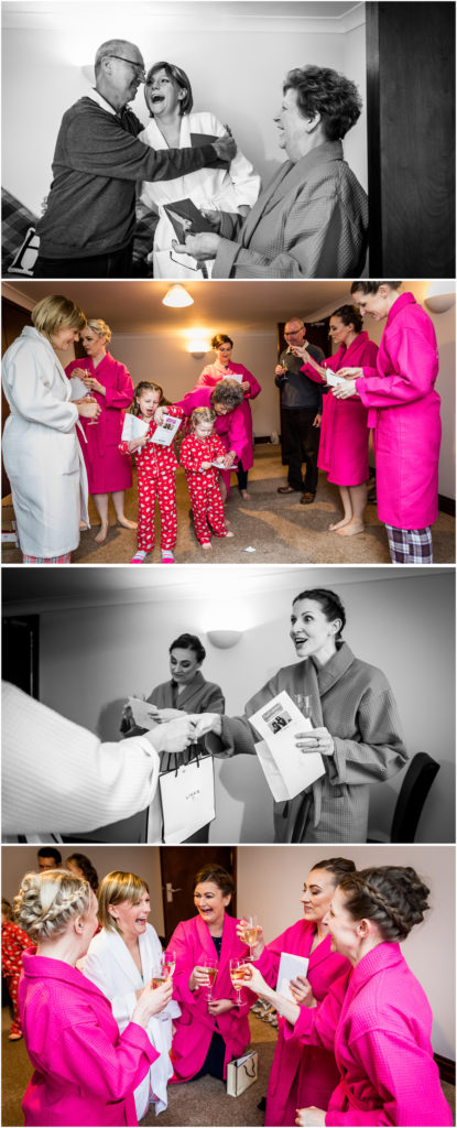 yorkshire wedding photographer - flower girls and bridesmaids receiving gifts
