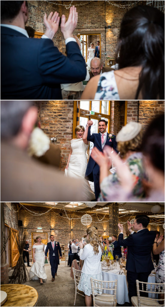 yorkshire wedding photographer - couple entering the wedding breakfast room