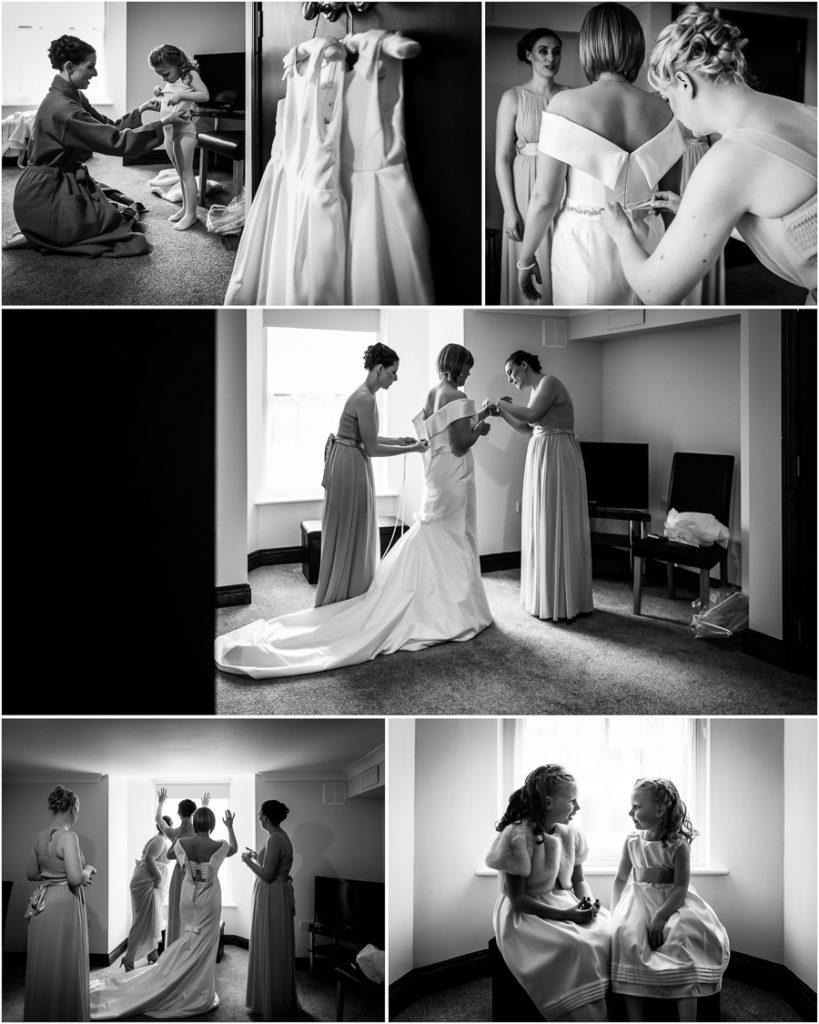yorkshire wedding photographer - bride getting into her dress