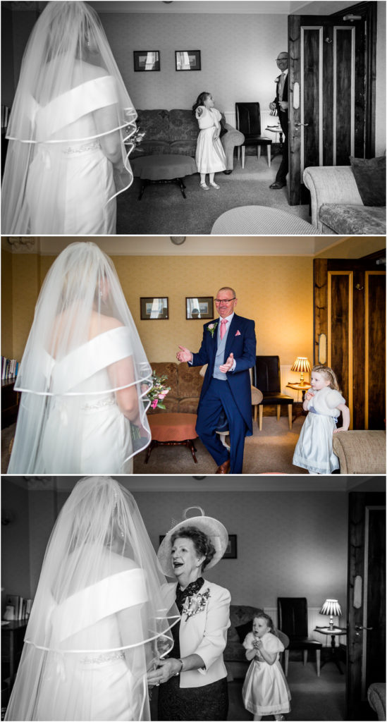 yorkshire wedding photographer - dad seeing bride for the first time