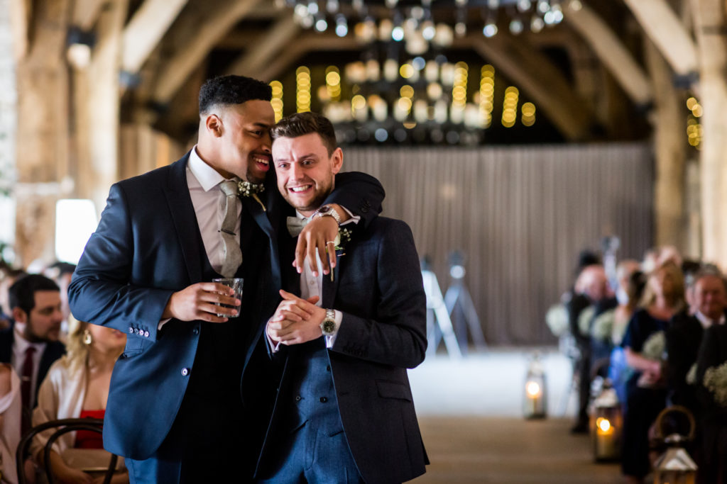 Tithe Barn Wedding Photography - Nervous groom