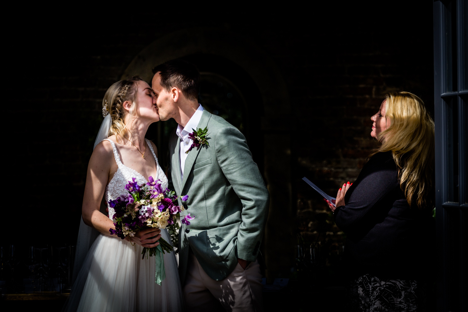 Middleton Lodge Wedding Photography - first kiss