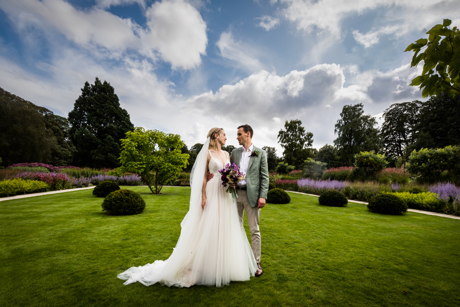 Middleton Lodge Wedding Photography - stunning gardens portrait