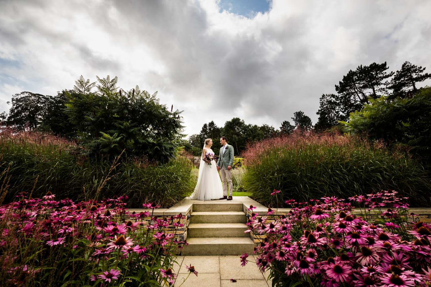 Middleton Lodge Wedding Photography - couple portrait in the gardens
