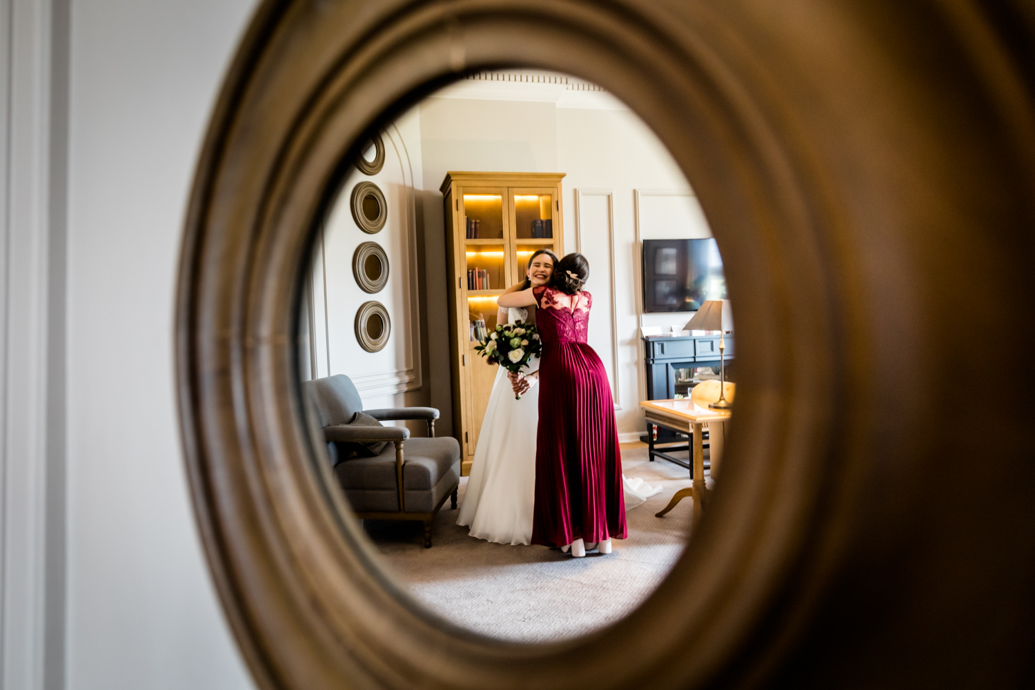 Principal Hotel York Wedding Photographer -Bride & Bridesmaid