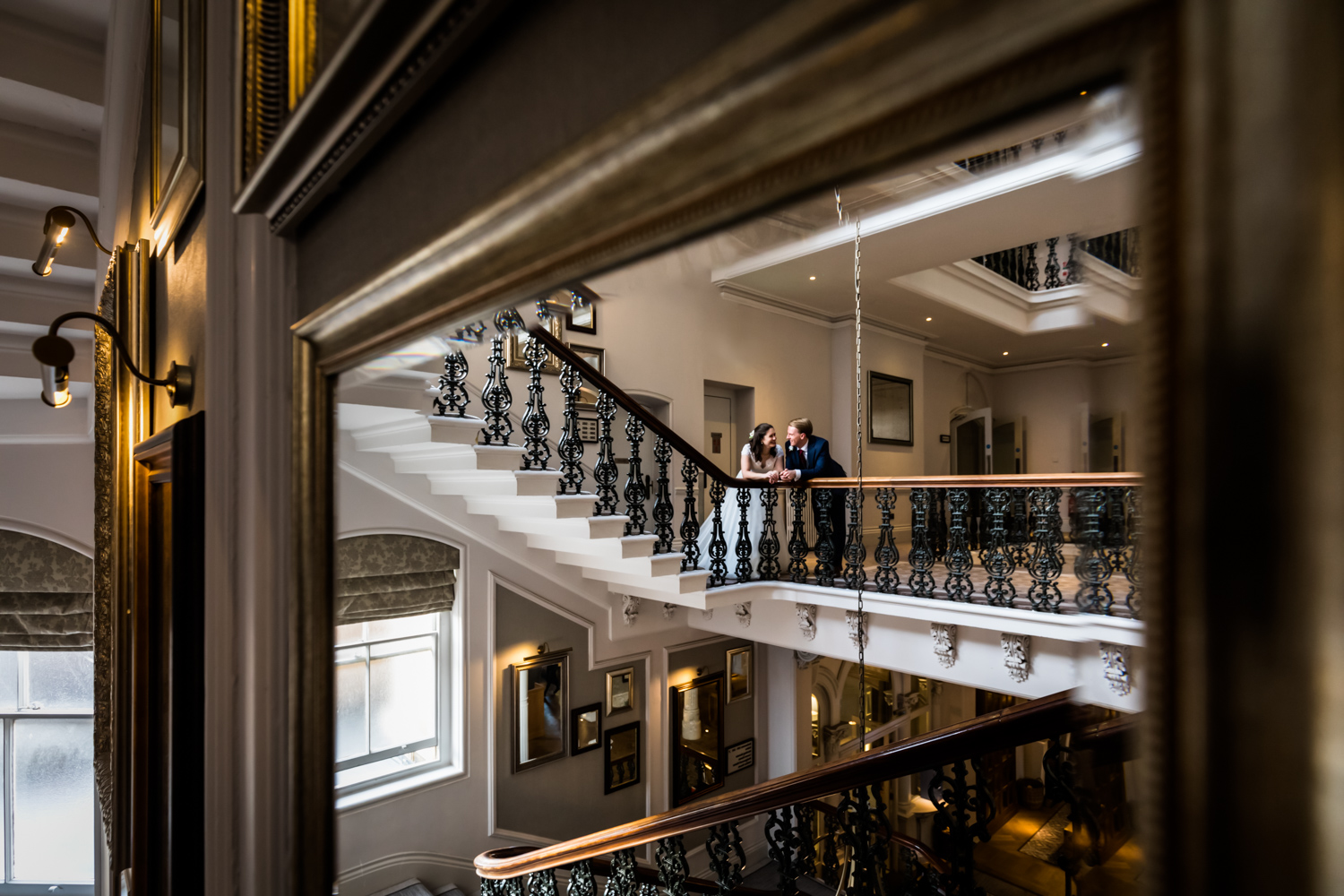 Principal Hotel York Wedding Photographer - couple portrait on the grand staircase