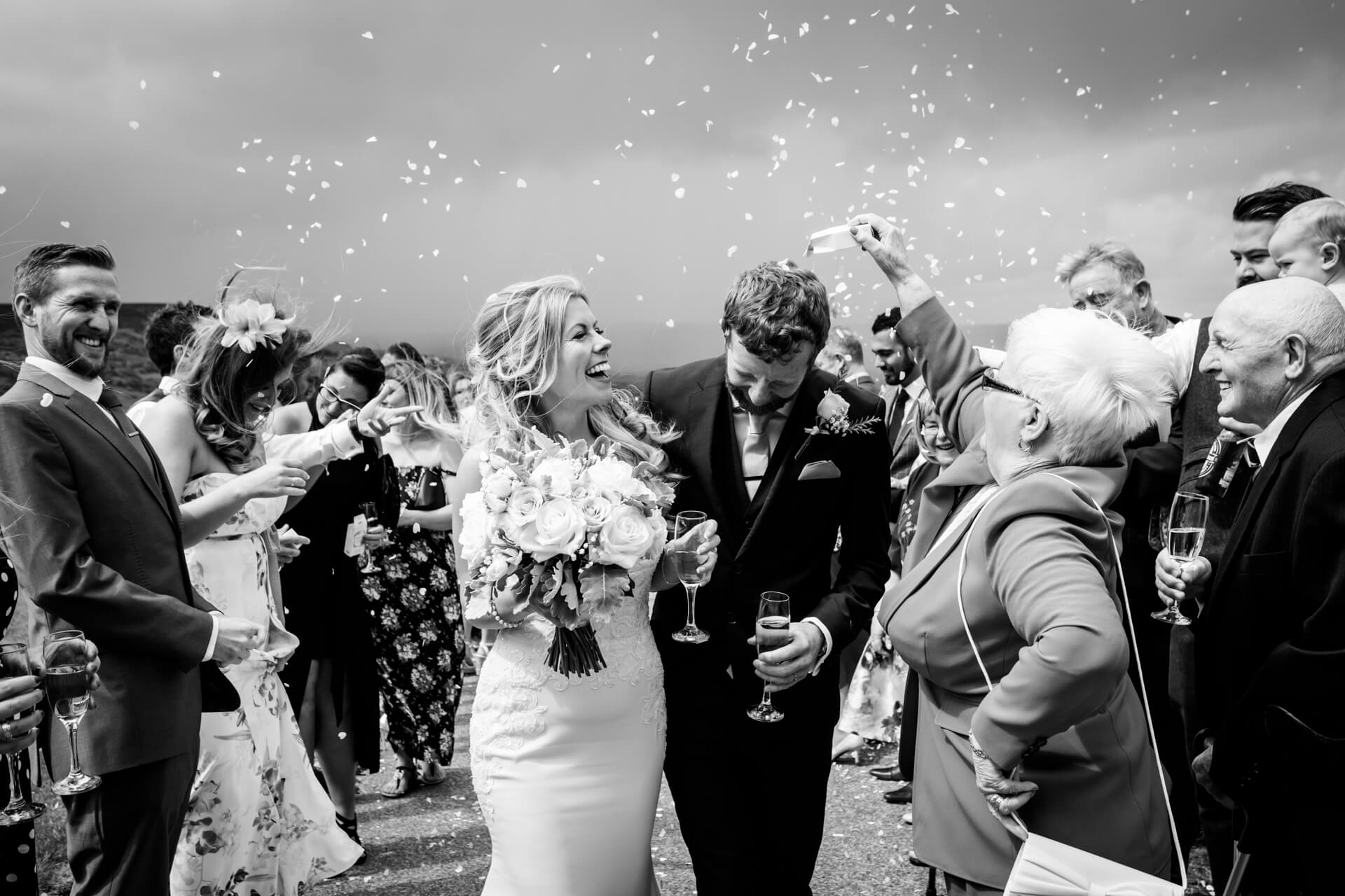 grandma showered the couple with confetti
