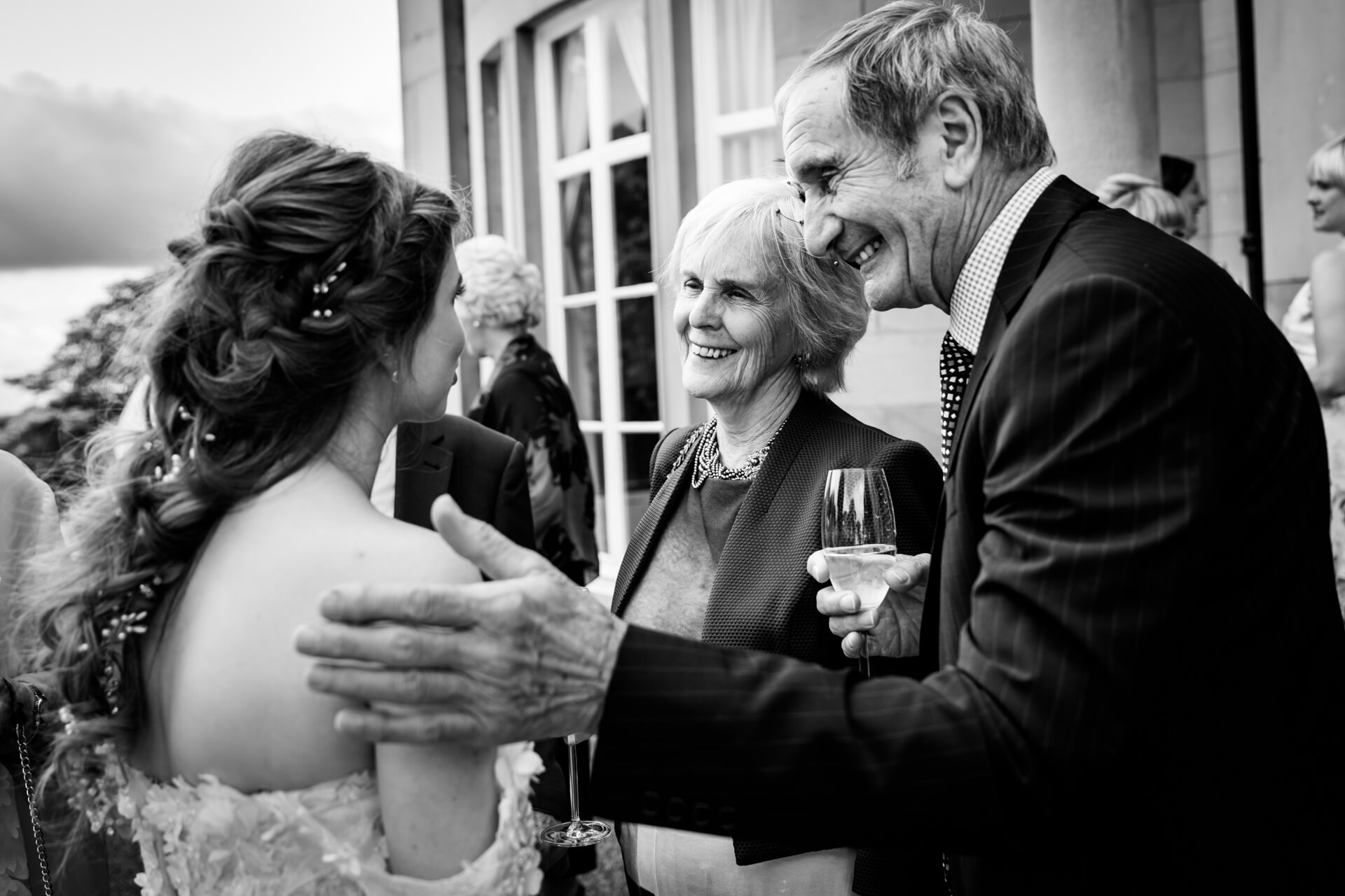 bride chatting to her grandparents