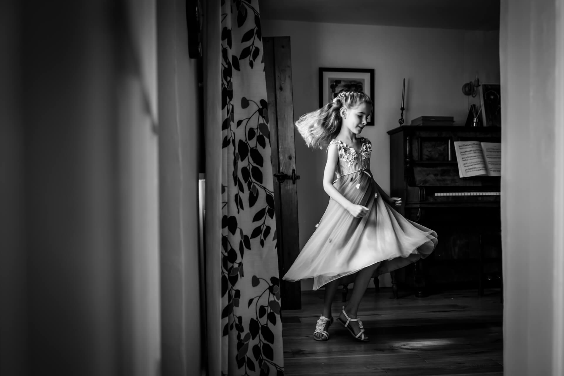 flower girl dancing in her living room