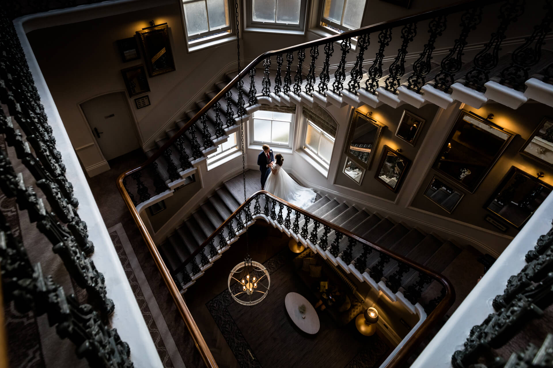 wedding couple standing on the staircase at The Principal hotel in York
