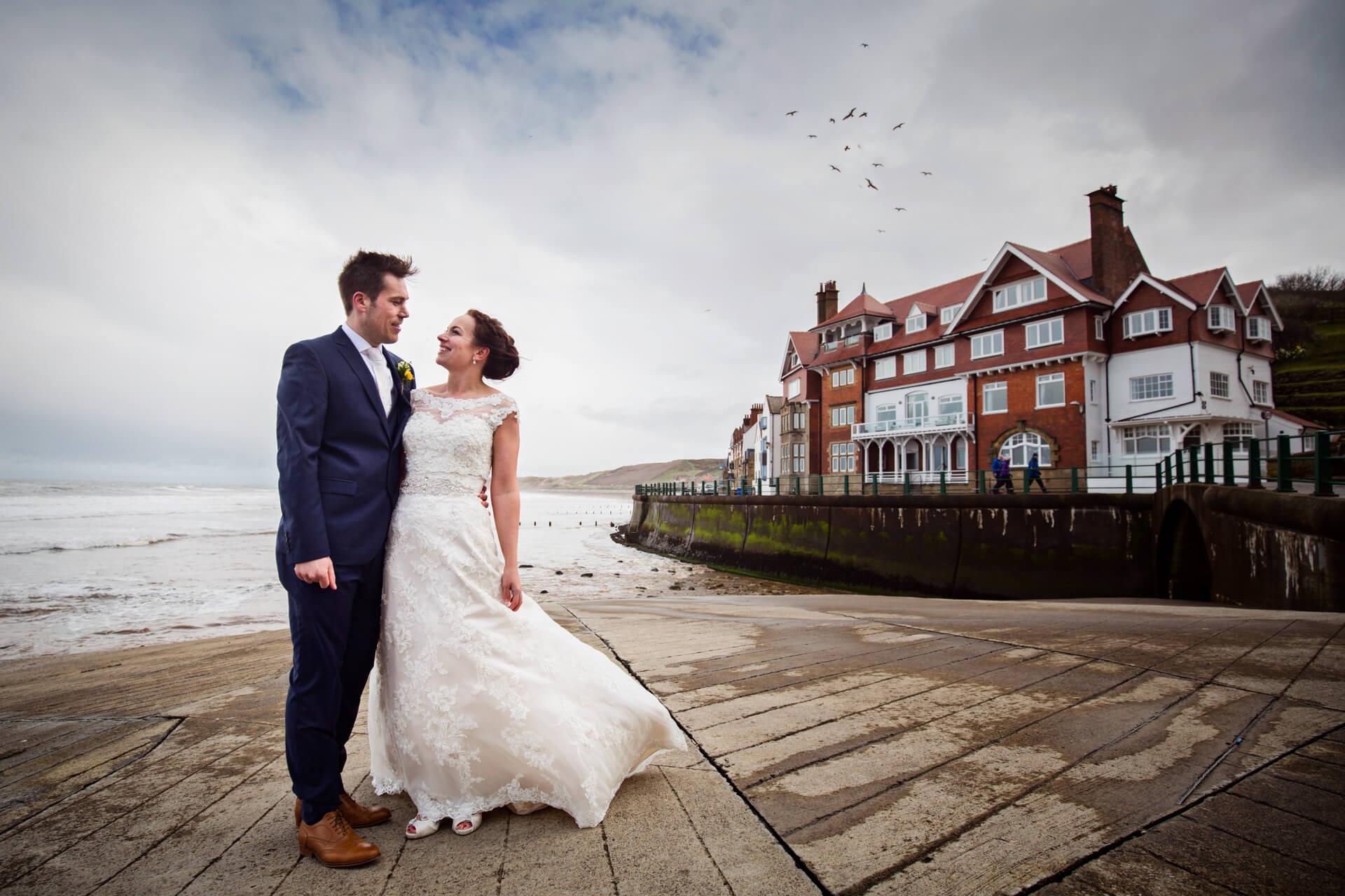 wedding couple on the yorkshire coast