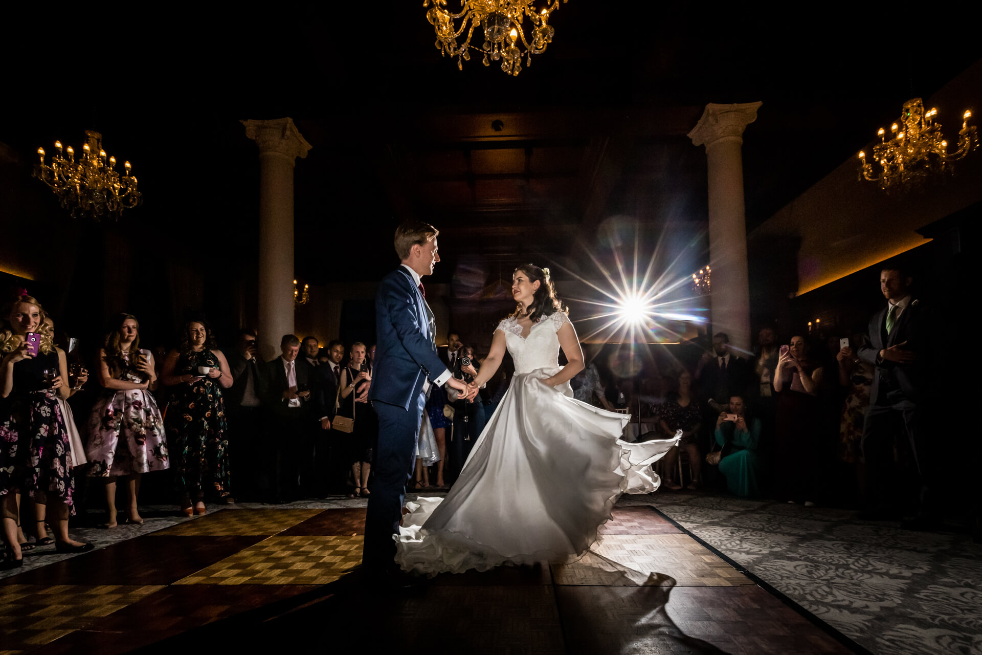 bride and groom dancing their first dance at the Principal hotel in york