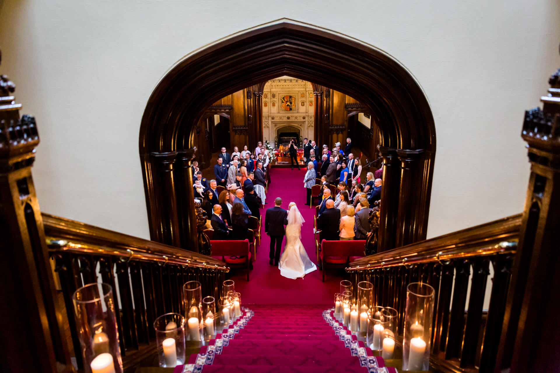 bride and her father entering the ceremony at Allerton castle