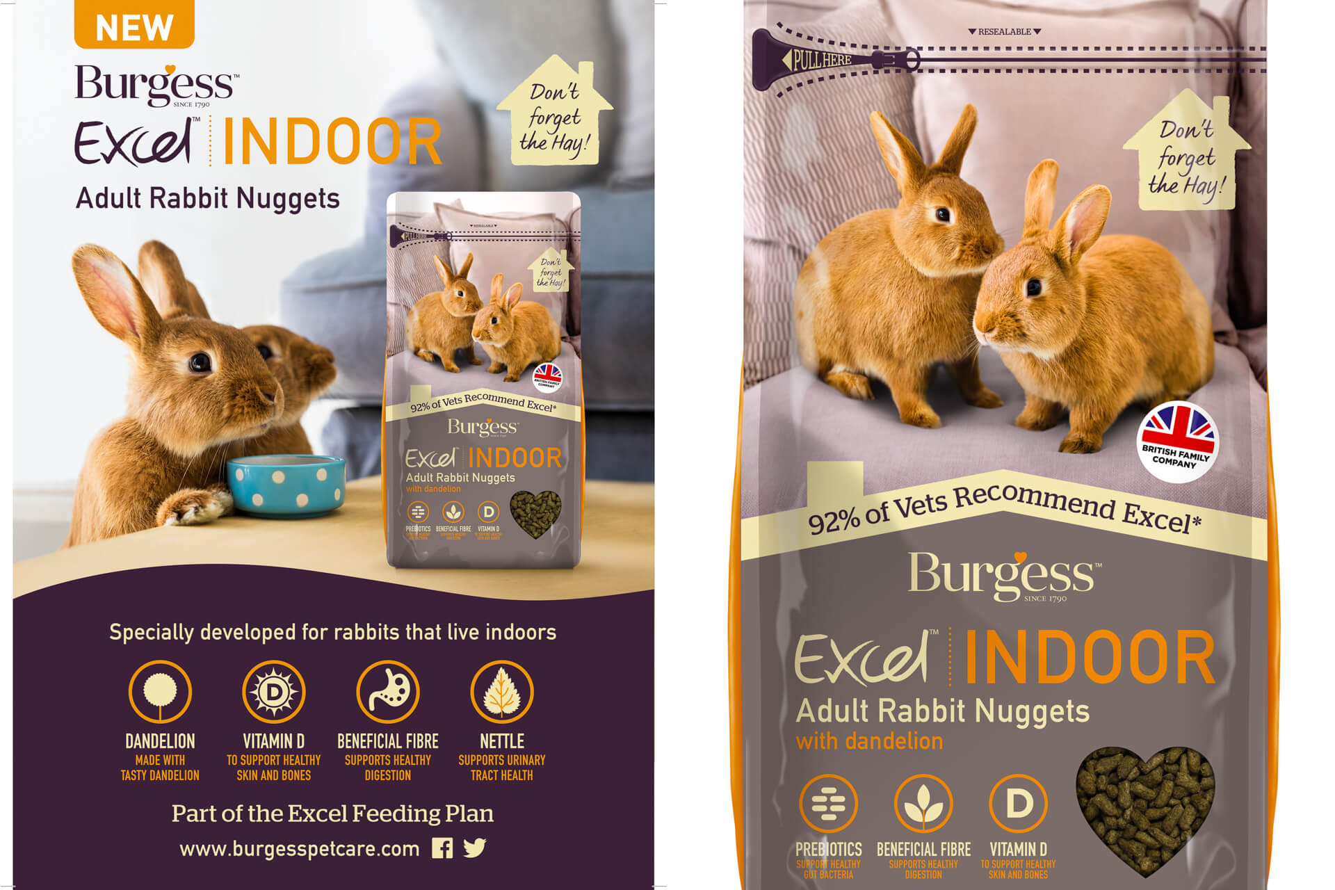 packaging for burgess pet food showing rabbit images