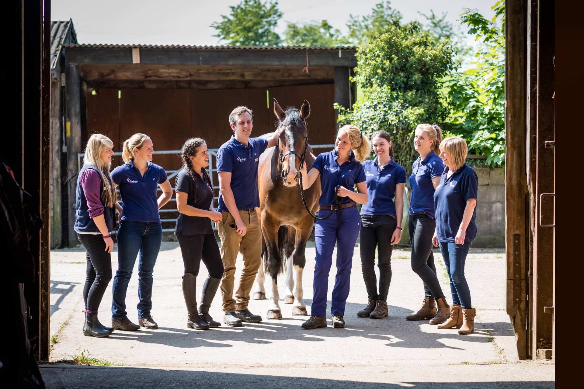 group of horse riders looking at a horse and chatting