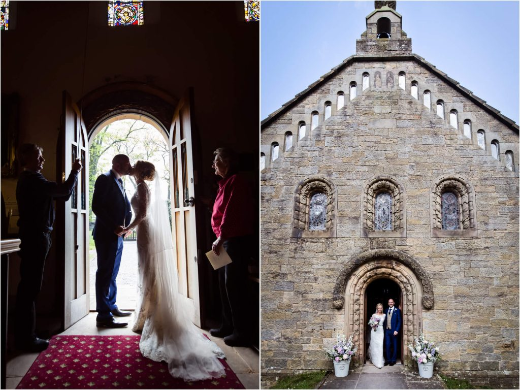 Lake District wedding- couple leaving St Mary's Church in Wreay