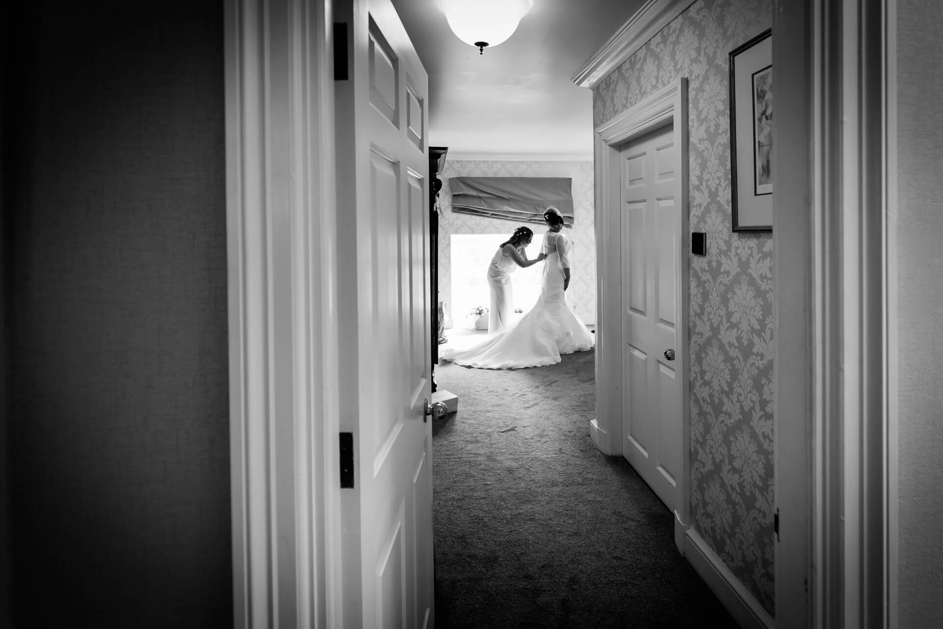 Bridal preparations at Hazlewood Castle Yorkshire
