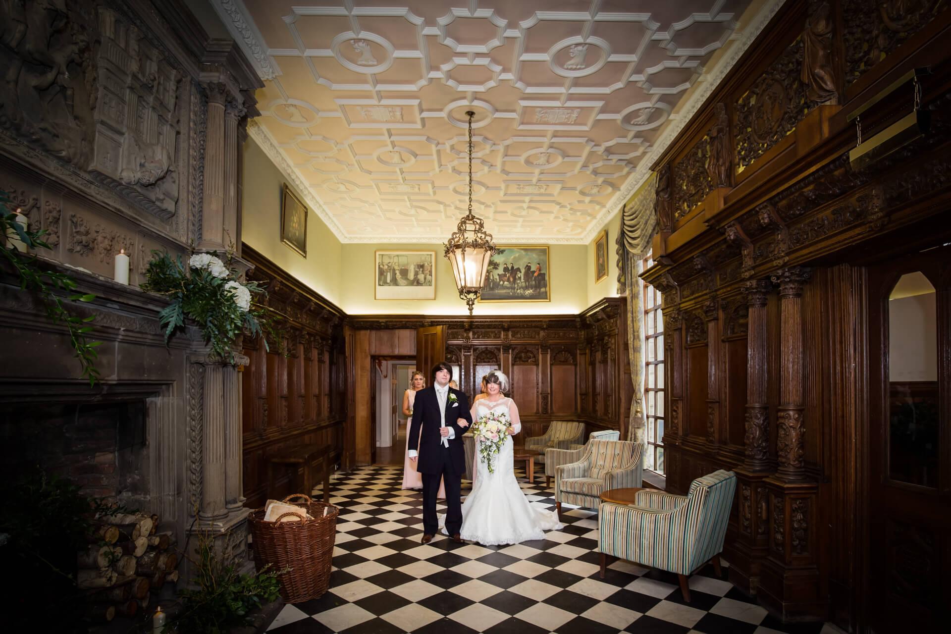 Bride waiting to enter the ceremony at Hazlewood Castle