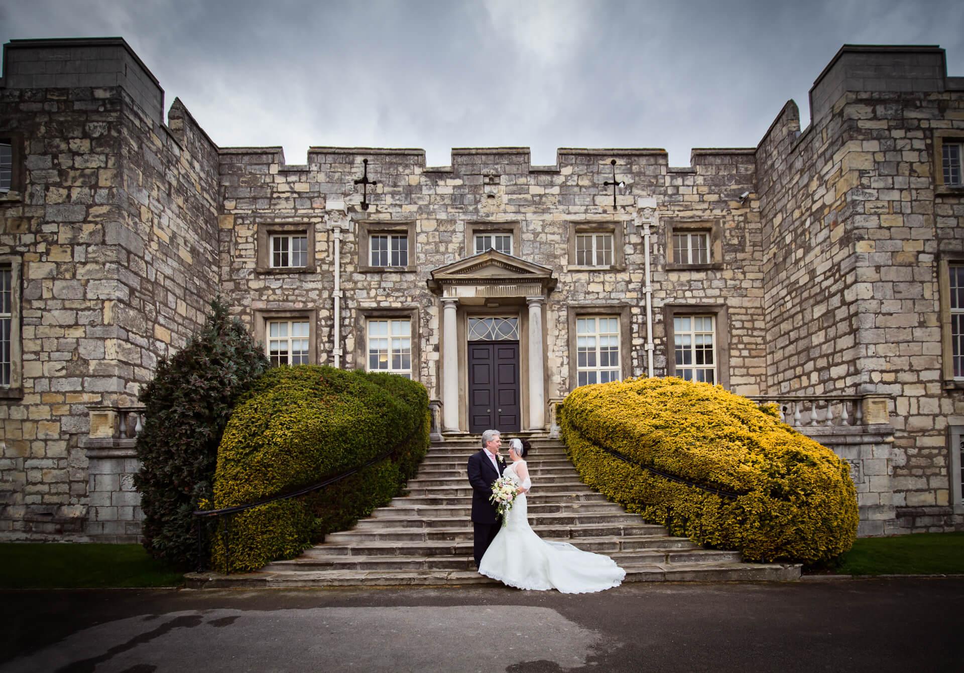 Hazlewood Castle wedding photographer - wedding couple portrait