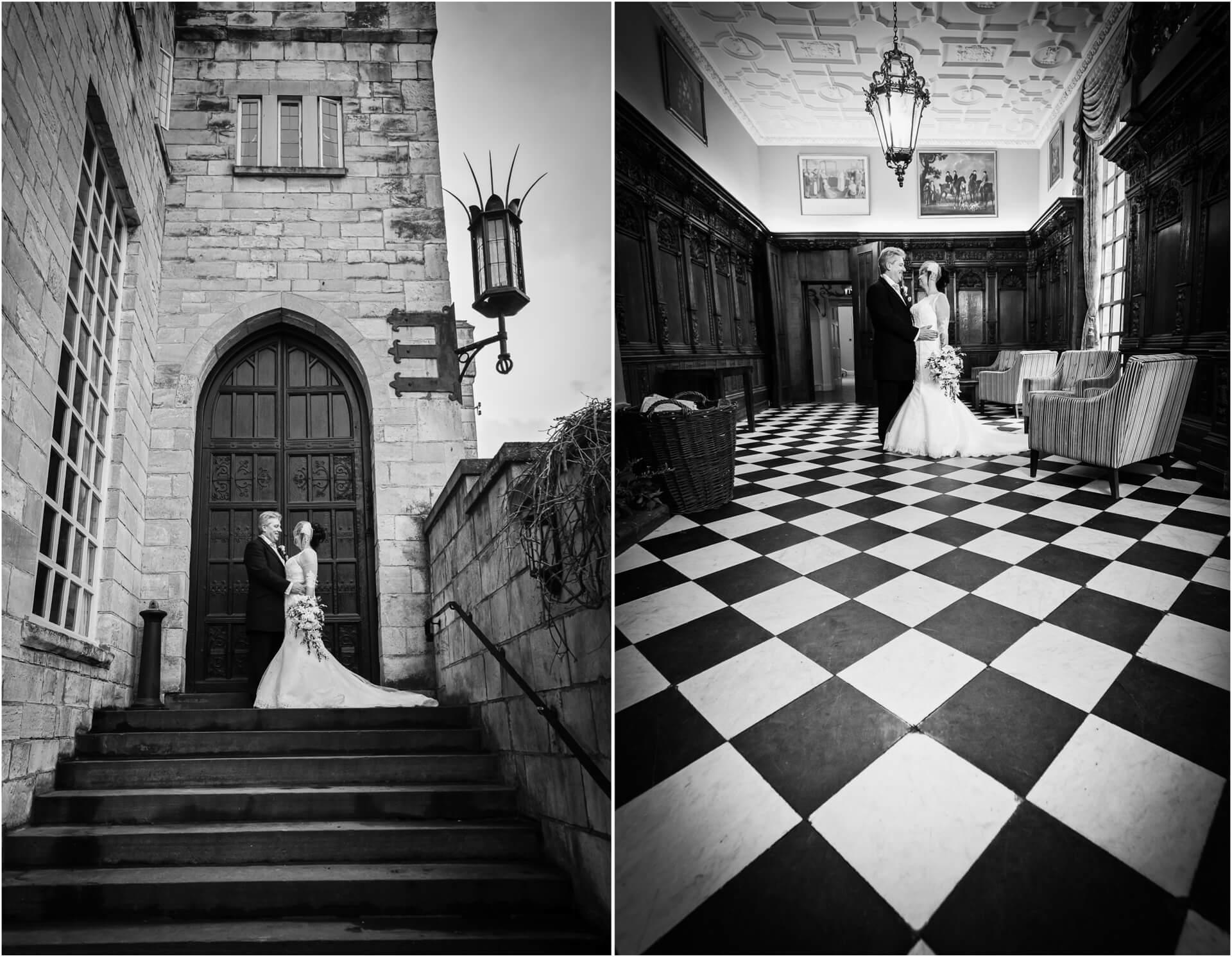 Hazlewood Castle wedding photographer - couple portraits in the castle grounds