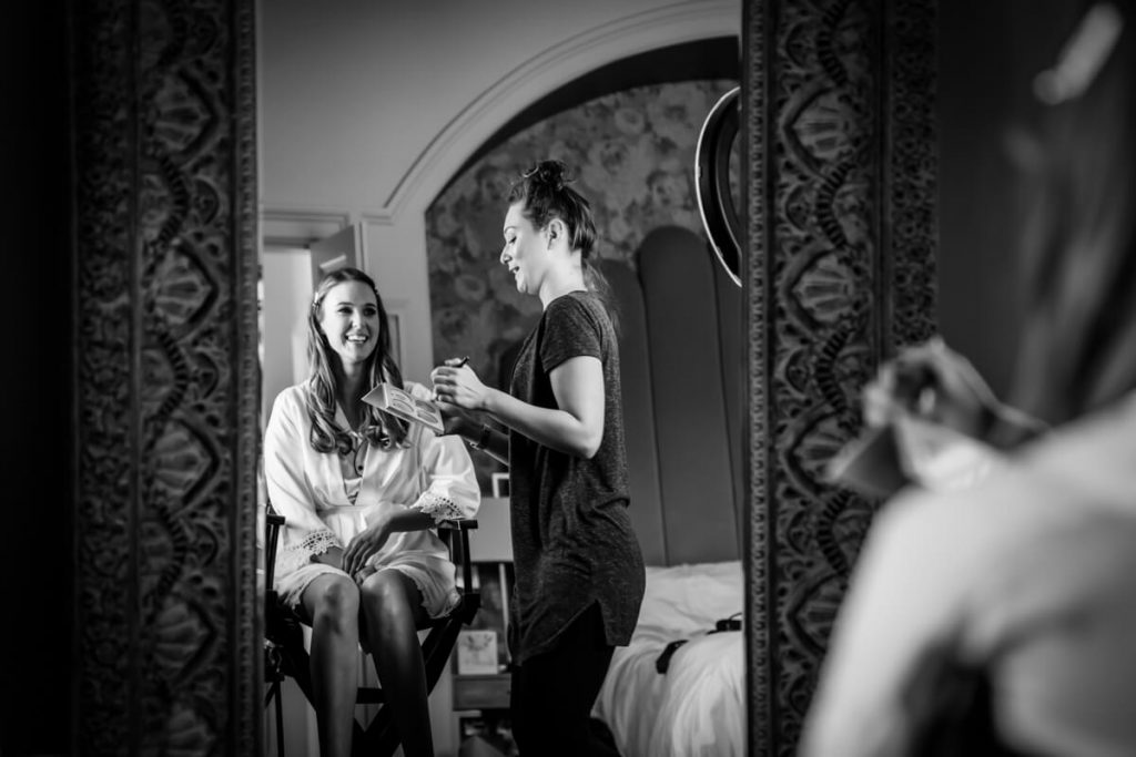 bride having her makeup done at Saltmarshe Hall