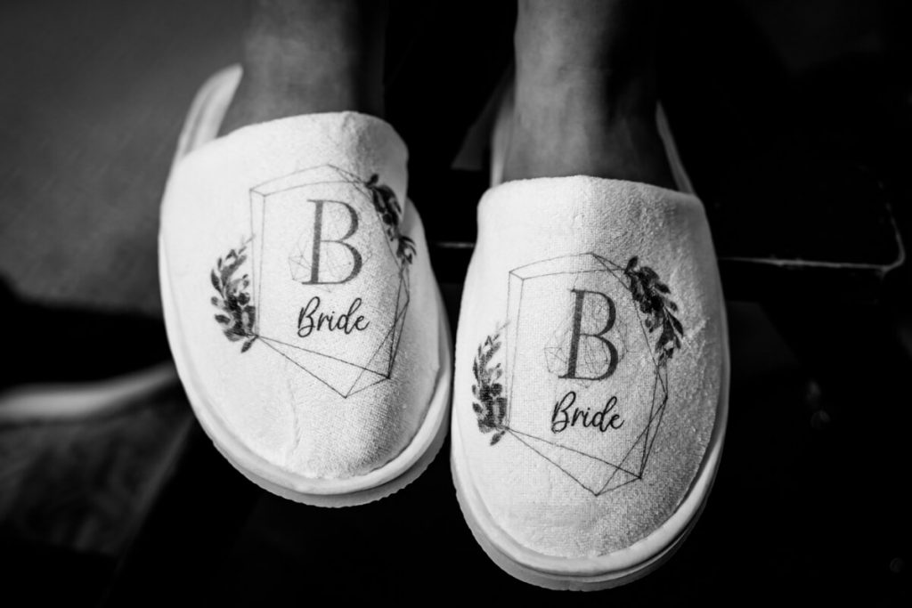 brides monogrammed fluffy wedding slippers