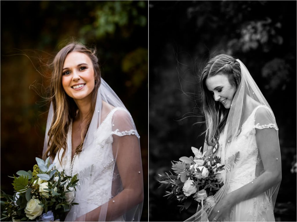 portraits of the bride in the gardens at Saltmarshe Hall