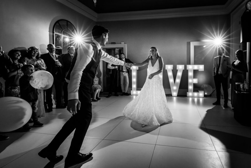 wedding couples first dance at Saltmarshe Hall