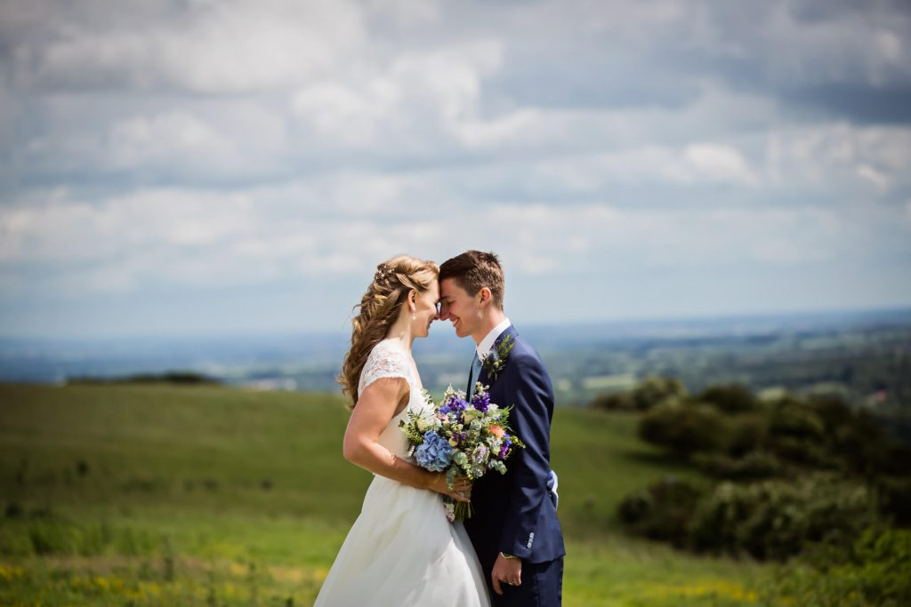 couple having an elopement wedding in the Yorkshire dales