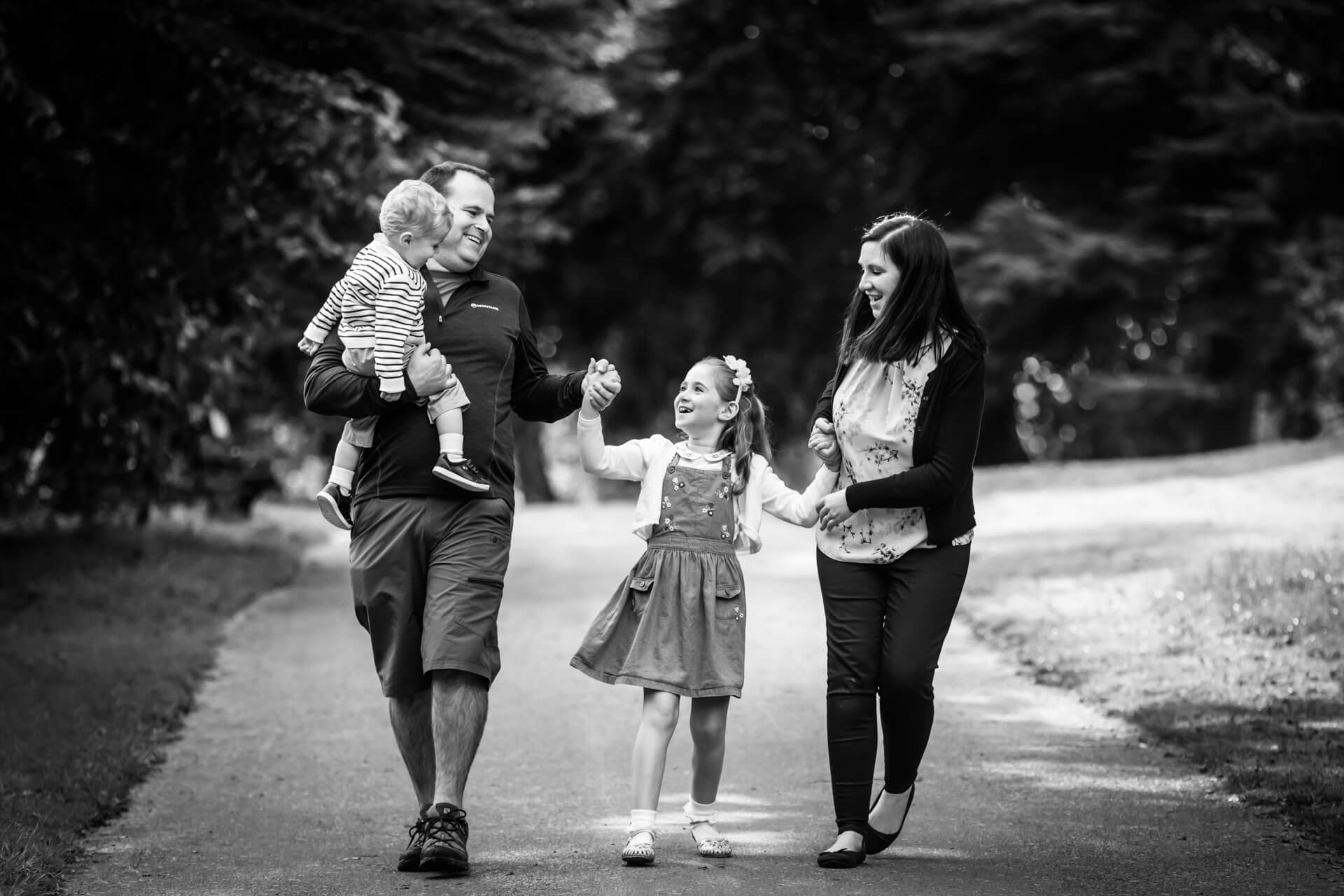 family walking together in a Leeds park