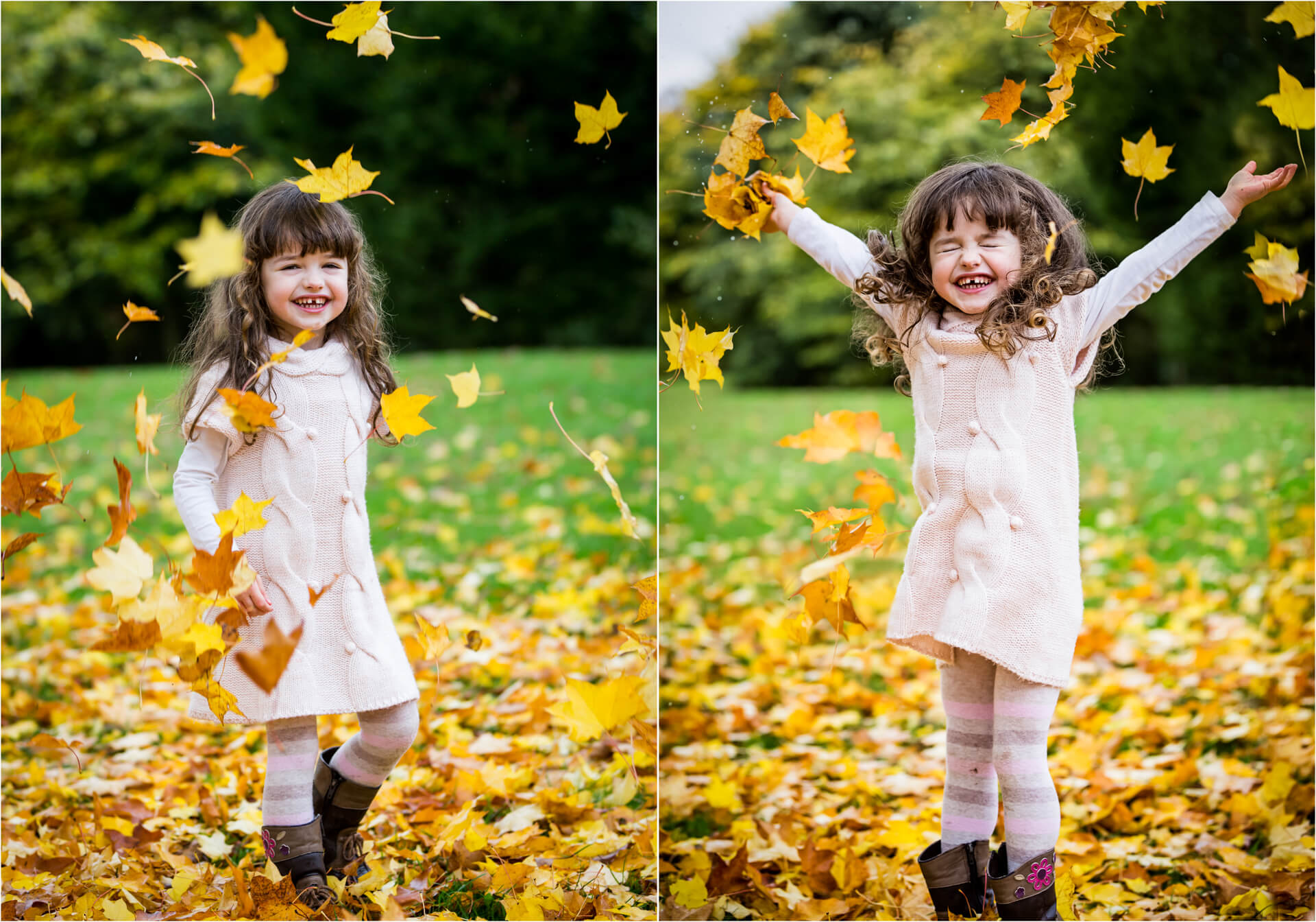 little girl throwing autumn leaves in the air
