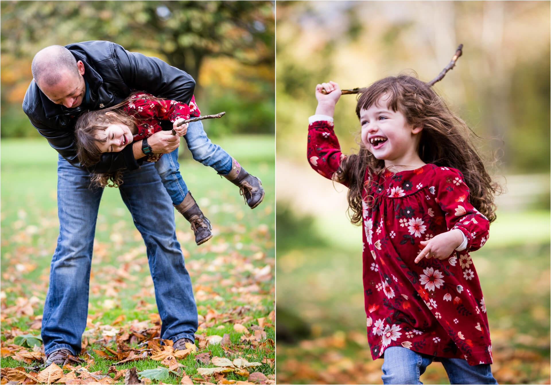 toddler running around laughing