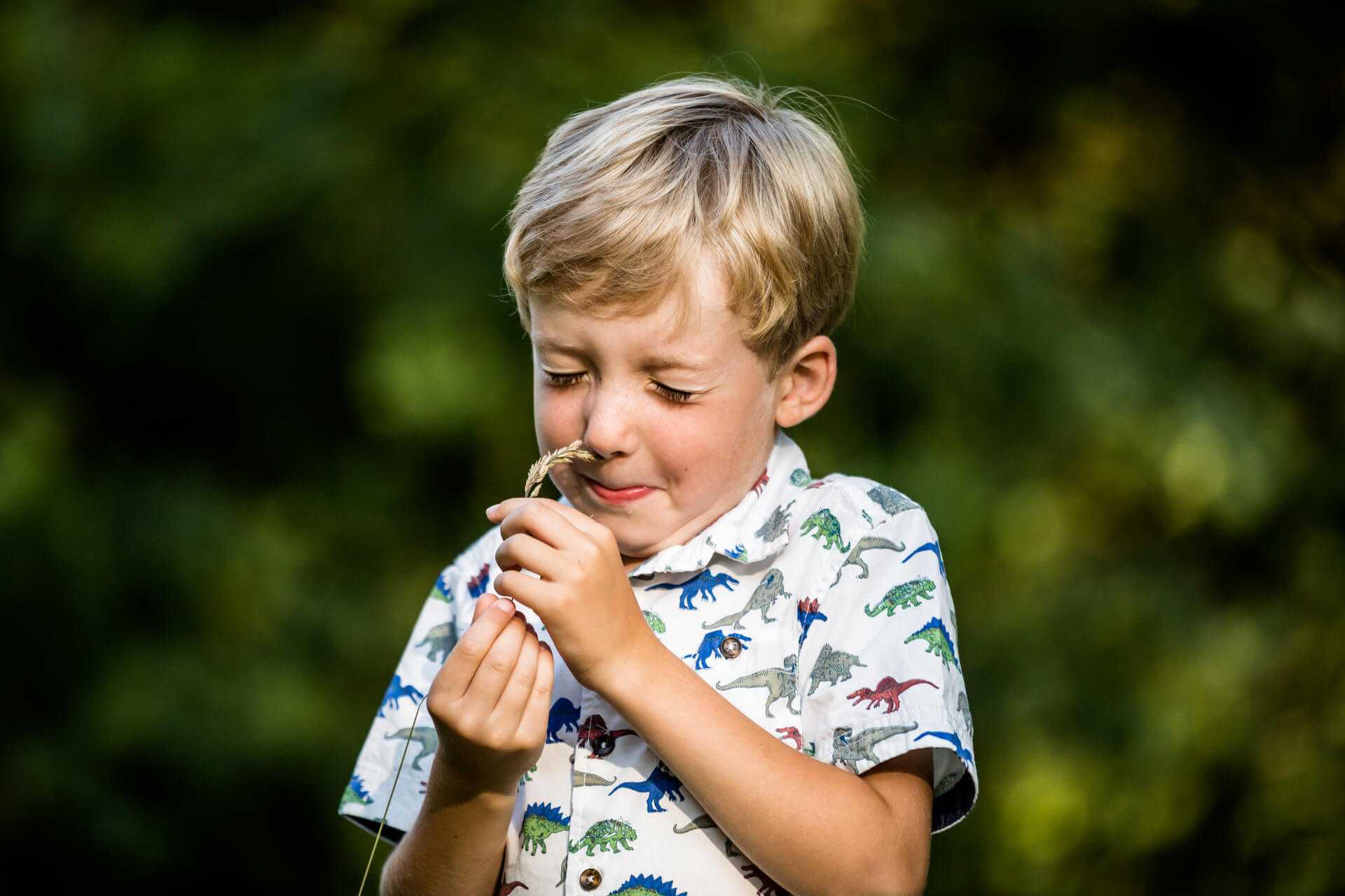 small boy smelling a piece of grass
