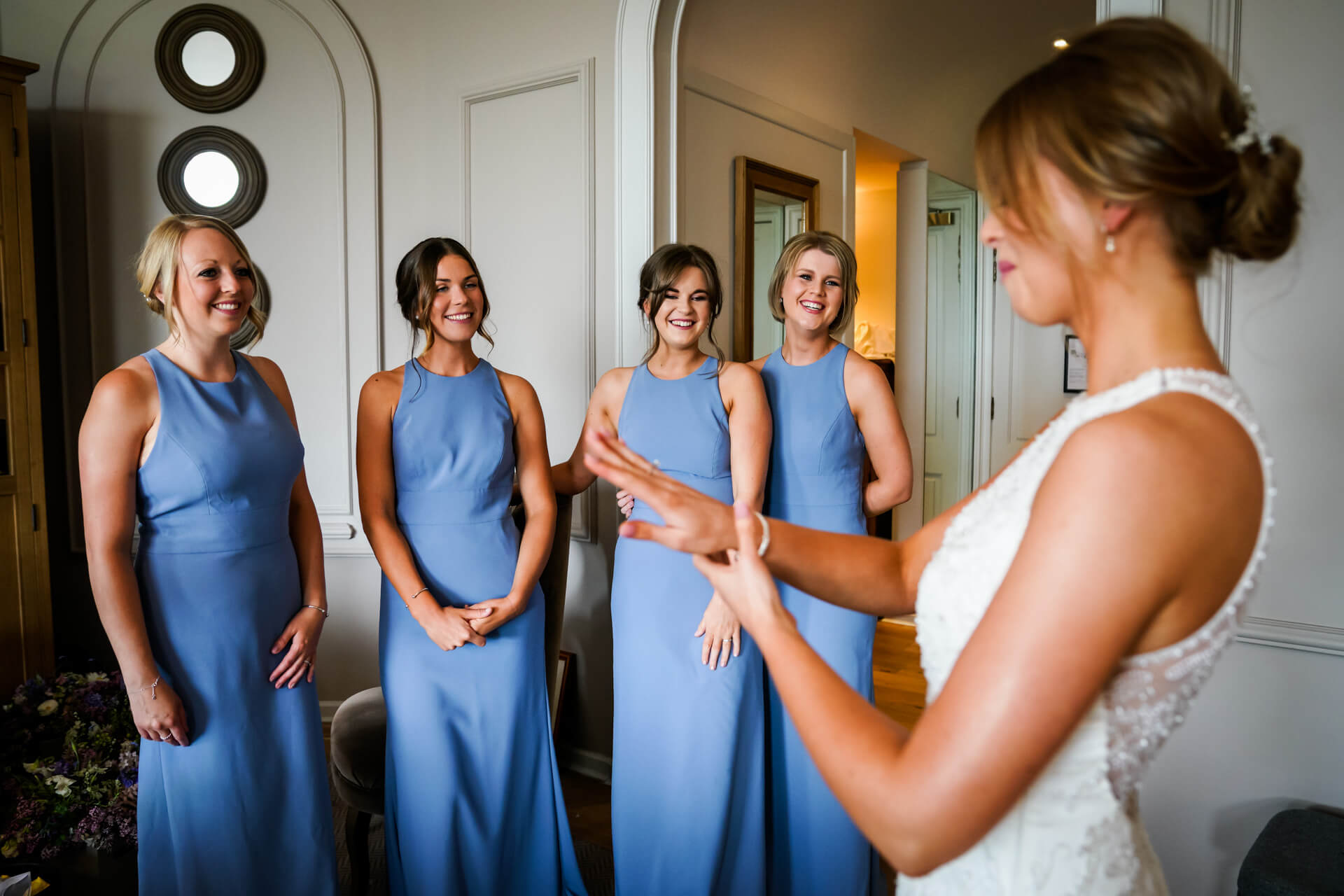 bride showing the bridesmaids her ring at the principal hotel in york