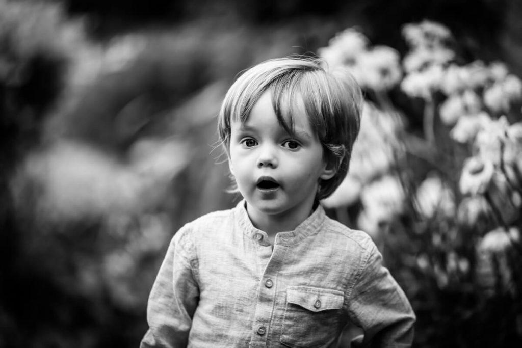 portrait of a toddler in his garden in Wakefield