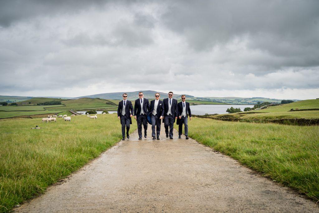 groomsmen walking together