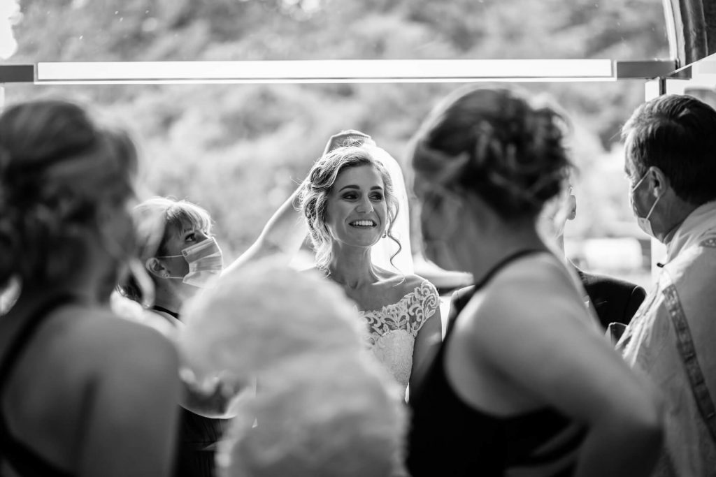 bride in the doorway of Bolton Abbey