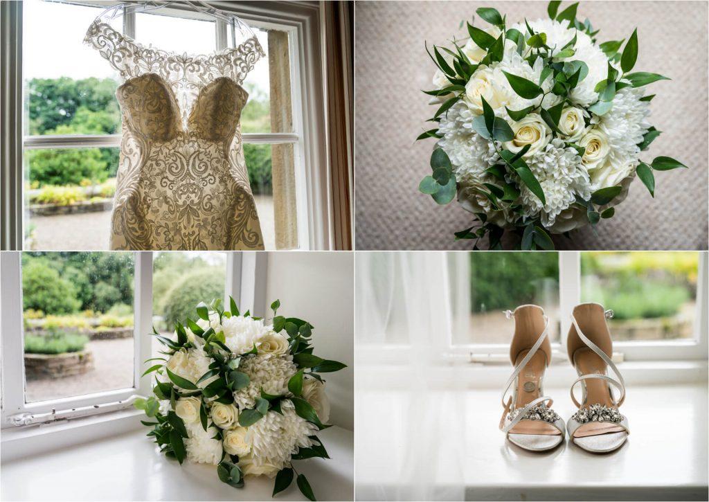 flowers and wedding dress