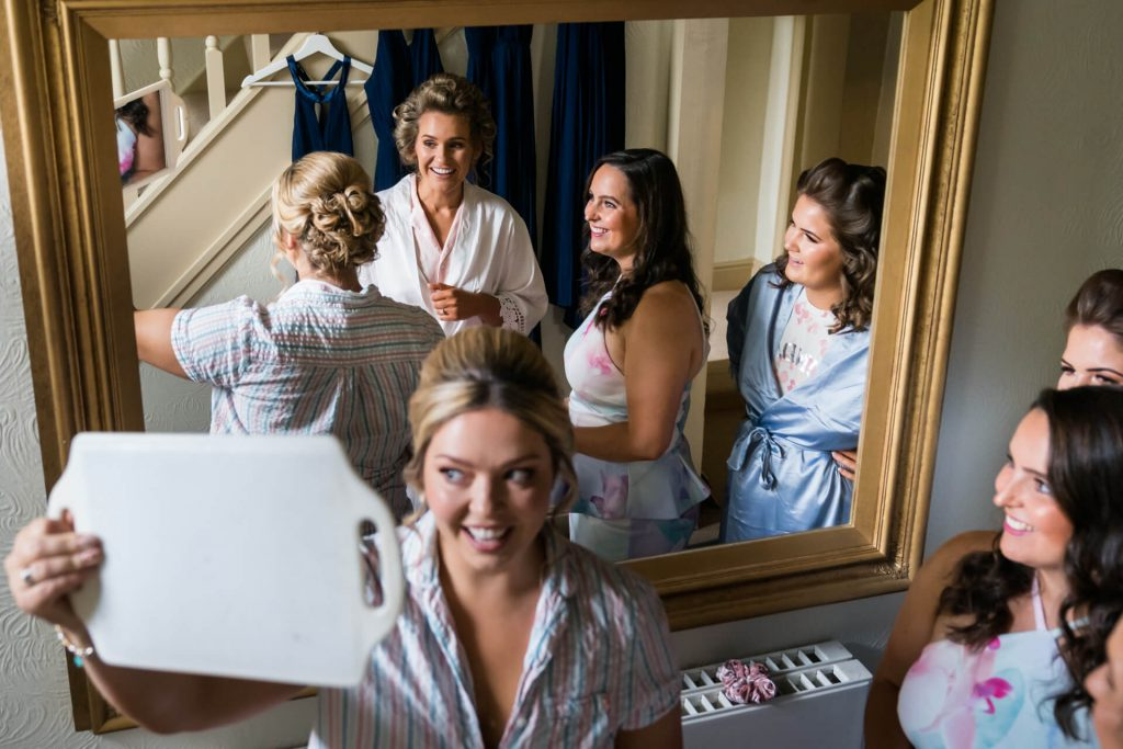 girls getting ready on the Broughton hall estate