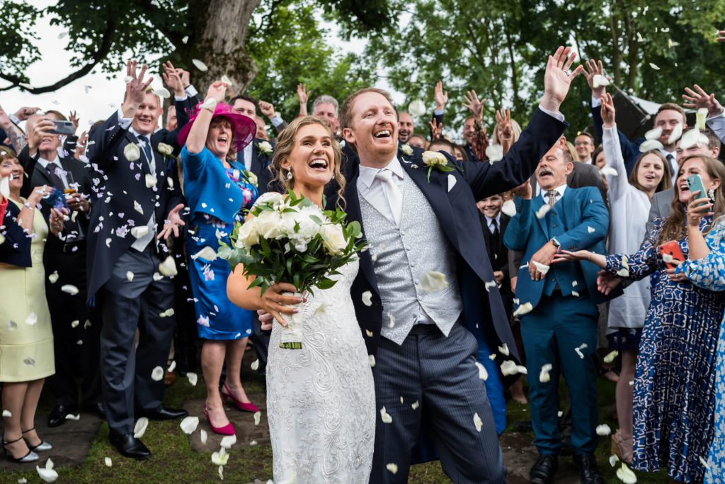 confetti moment for the bride and groom