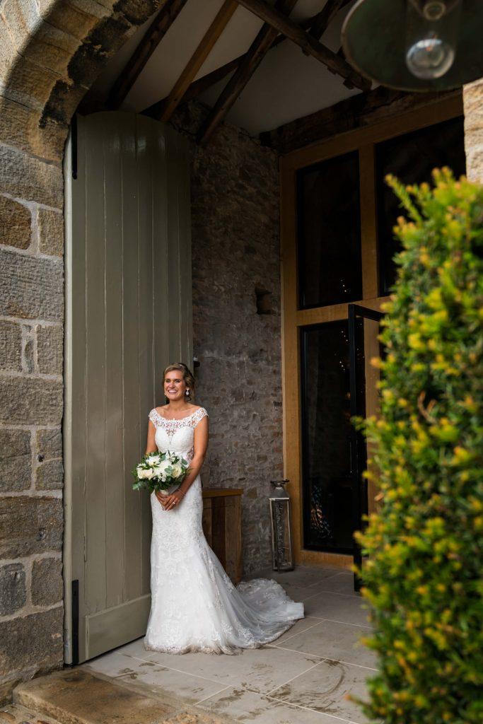 portrait of the bride in the doorway