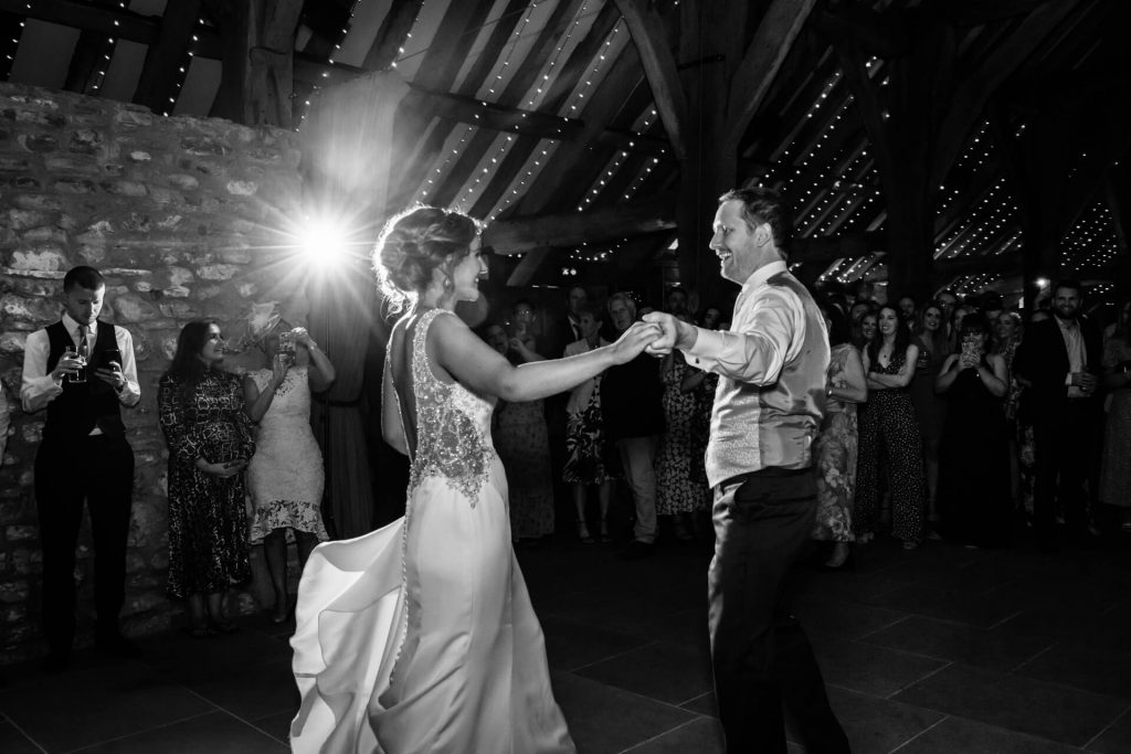 bride and groom dancing at Tither Barn